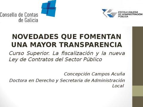 Novidades que fomentan unha maior transparencia - A fiscalización e a nova Lei de contratos do sector público